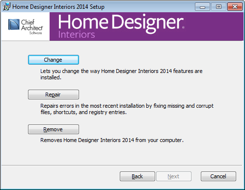 Home Designer Interiors 2014 Reference Manual Setup Wizard Welcome 1. Depending on whether or not you have installed the program on this computer before, the text in this window may vary.