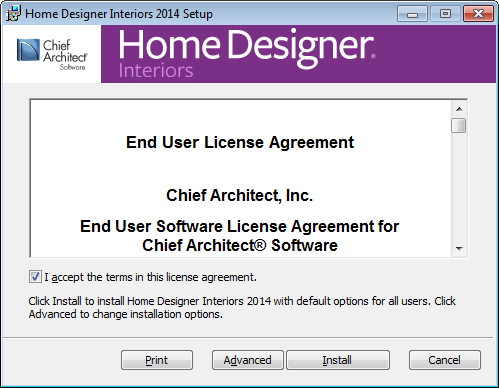 Installing Home Designer Interiors License Agreement 3. Read the License Agreement carefully.