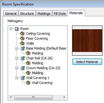 Using the Material Painter 3. Find and select a material and click OK to close the dialog. 4. Click OK to close the Room Specification dialog. 5.
