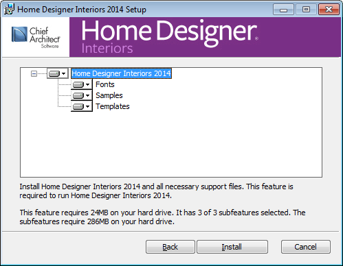 Installing Home Designer Interiors Choose Items to Install 5. You can use this window to specify what features you wish to install. Click on a line item to select it.