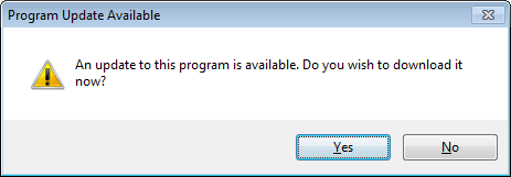 Installing on Multiple Computers When a program update is available, this dialog will display when the program is opened: Click Yes to open your default Internet browser to the Program Updates