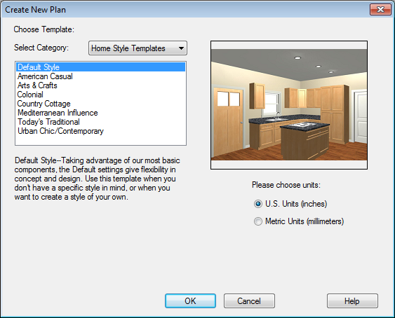 Home Designer Interiors 2014 User s Guide 4. The Create New Plan dialog displays next. 5.