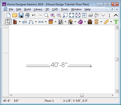 Home Designer Interiors 2014 User s Guide Click and drag from left to right to draw a wall. Wall length is indicated in the Status Bar as the wall is drawn 2.