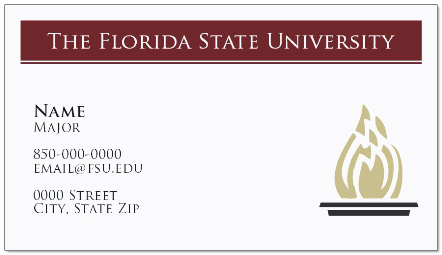 Sample business cards Image courtesy of Target Copy It is typically best to include the following information on a professional business card 1. The university s name (Florida State University) 2.