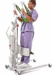 Powered Standing Assist and Repositioning Lifts Place sling around the patient Activate the motor or turn the crank to
