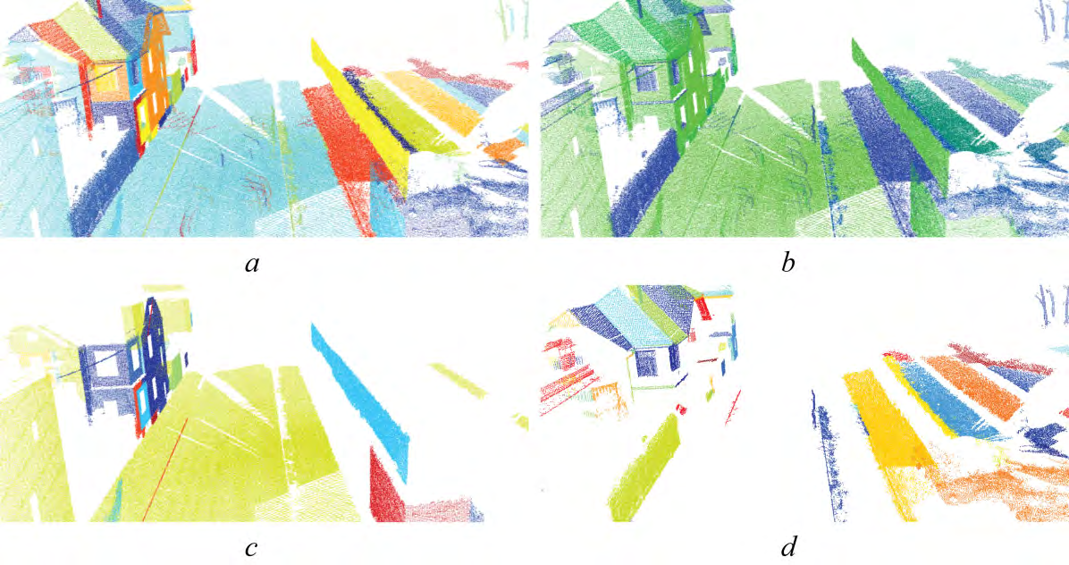 c) and d) Isolation of smooth and rough surfaces. CONCLUSION A novel method for robust context-free segmentation of unordered point clouds was presented.