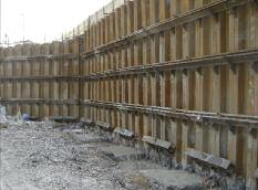 Cutoff walls are designed to resist earth and water pressure as well as any other additional surcharge pressures that may be present, such as those from adjacent