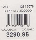 Price / Barcode Standard Format / Layout Myer s standard format/layout for printed GTIN (EAN/UPC/APN) barcodes is provided below.