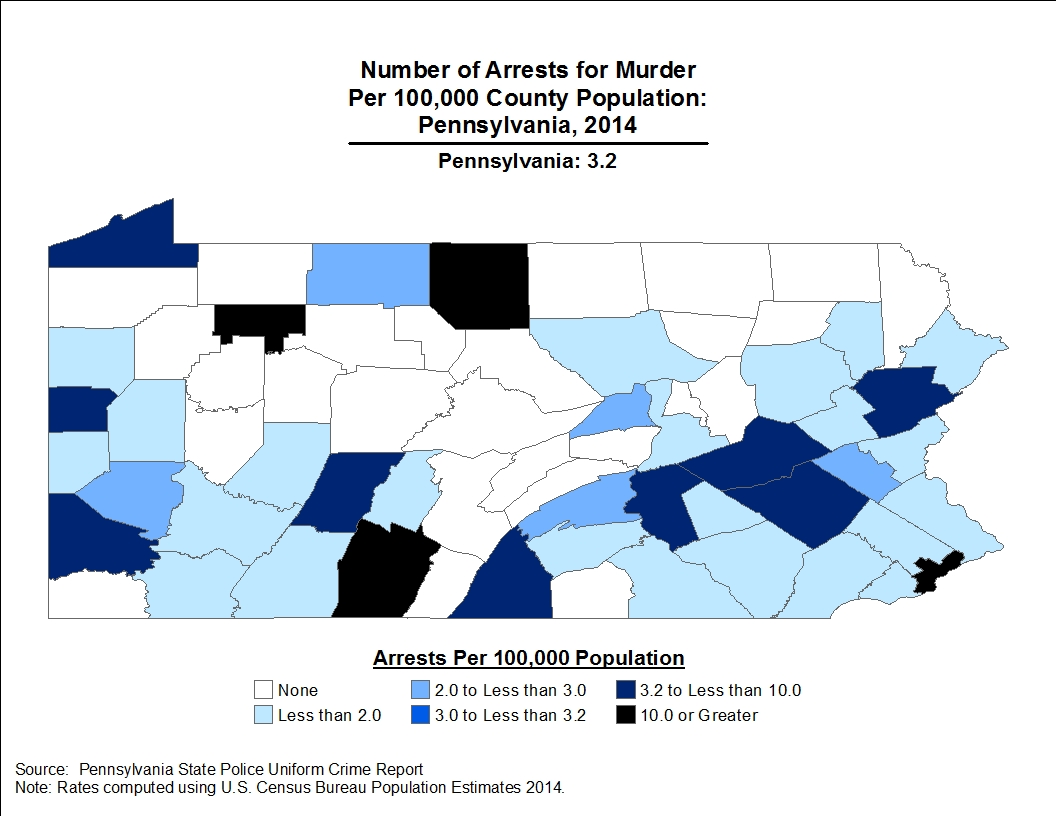 Twenty-six counties reported zero arrests for murder during 2014. Additionally, four counties had arrest rates of less than 1.0 per 100,000 persons.