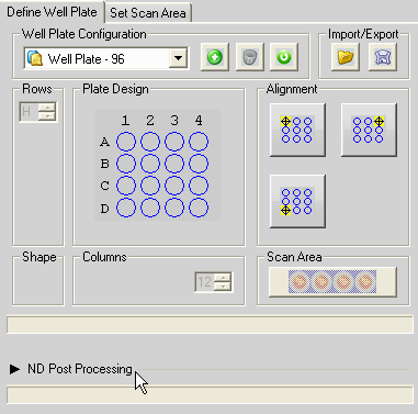 Post Processing Options Post Processing for splitting and stitching datasets is available post-acquisition Due to how the well plate macro interacts with adding information to the image header, It is