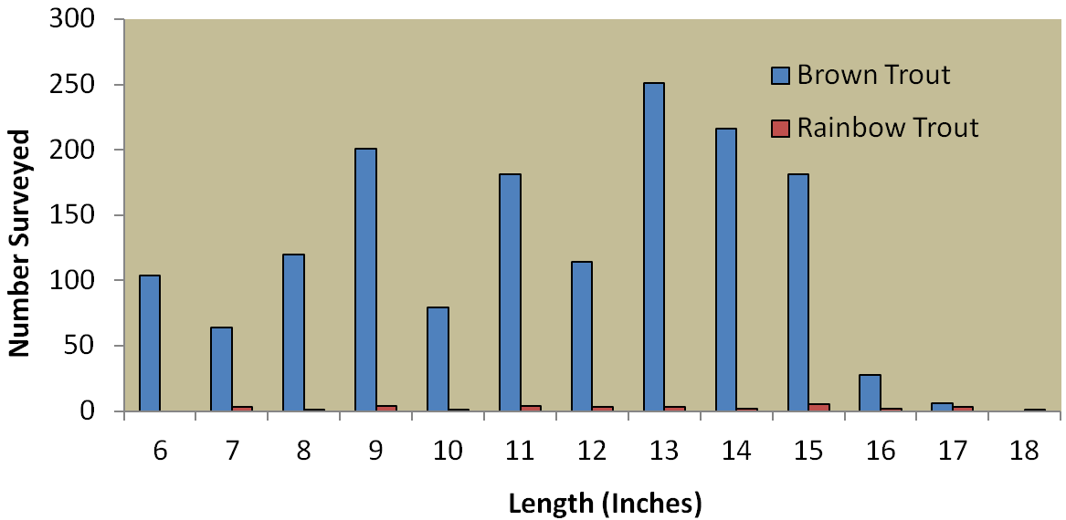Historical density estimates for brown trout and rainbow trout in the Rio Grande at Coller State Wildlife Area. Figure 9.