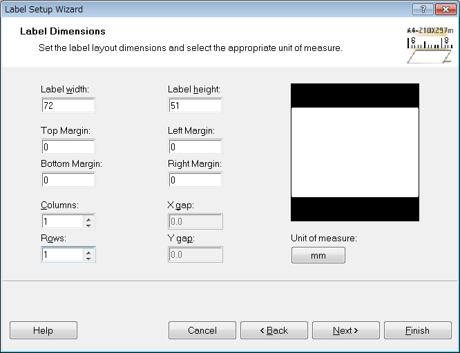 6 Specify the label size. Specify as shown below, and then click [Next]. Setting Items Setting Value Label width 72.
