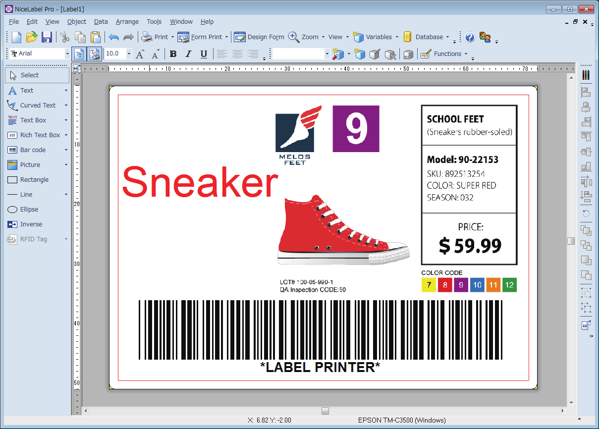Creating Label Design See the following and create a label design using NiceLabel.