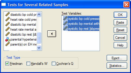 Click on Analyze Nonparametric Tests K dependent Samples The Tests for Several Related Samples dialog box will appear. Click [sbprest], [sbpma], and [sbpcp] and transfer them to Test Variable(s).