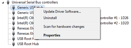 e. To detect any issues, look for devices in the Device Manager that have an icon similar to the following (USB with a yellow background with exclamation mark signifying that the driver is not