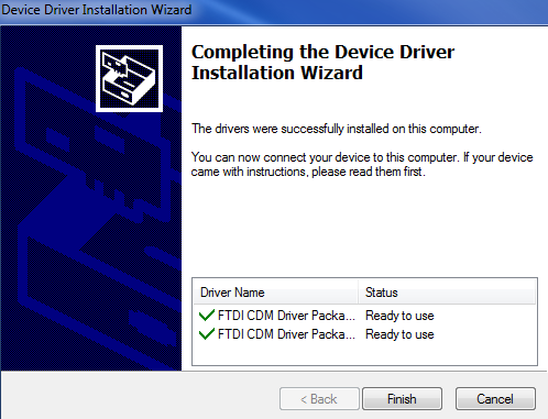 k. Click Finish as the driver has now successfully installed itself. l.