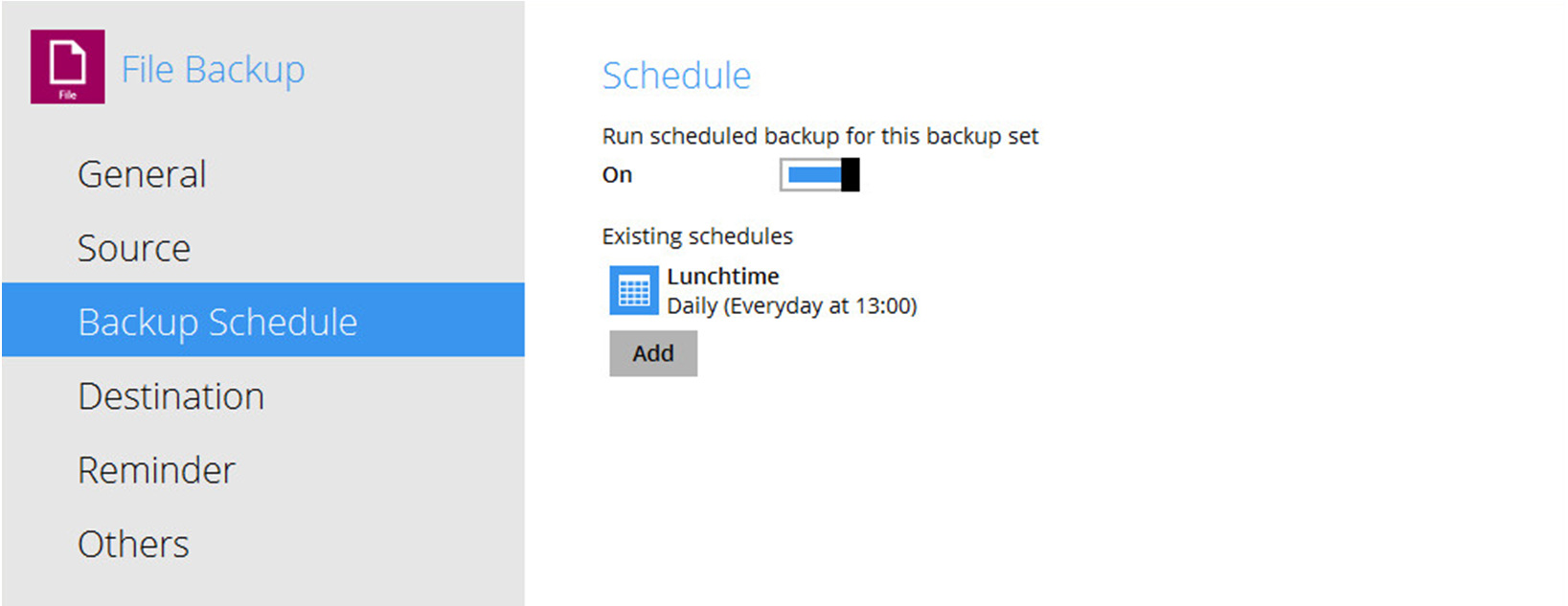 Select the backup set that you would like to create a backup schedule for.