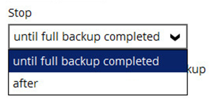 until full backup completed in case you prefer a complete