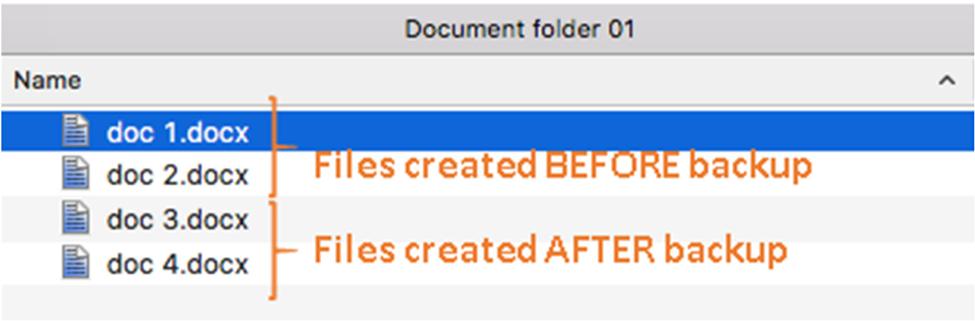 v) Since doc 3 & doc 4 have never been backed up, therefore they will be deleted from Document folder 01, leaving only the two files that have been backed up.