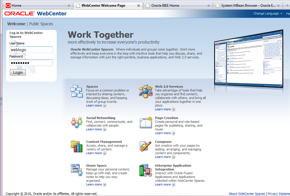 Insert Picture Here> Oracle WebCenter Spaces & Oracle Business