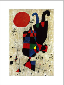 Art Masterpiece: People and Dog in Sun, 1949 by Joan Miro Pronounced: Hwan Mee-RO Keywords: Color, Line, Contrast, Abstract Grade 1st 4th Activity: Abstract Creatures Meet the Artist: Joan Miro was