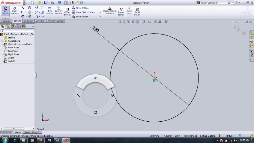 Draw a circle inside the drawing area first then choose smart dimension icon on the sketch ribbon or right click and drag the mouse courser to UP you ve