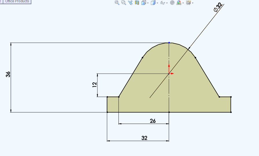 1. Create a new drawing file and draw the 2d object same as shown in the