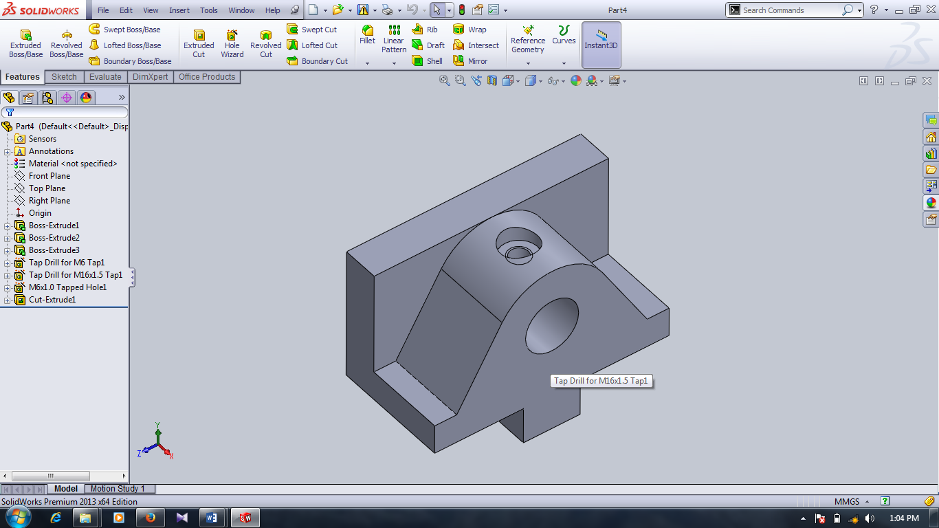 dimensions and extrude them to 22mm or up to end. 4.