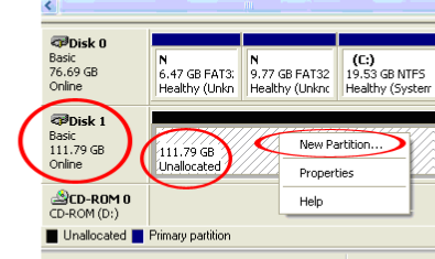 Once initialized, locate the Disk that says it is Unallocated (check the listed hard drive capacity to confirm it s the correct hard drive) and then right-click in the section that says Unallocated