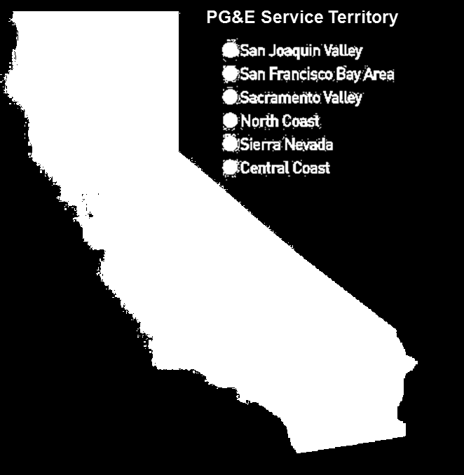 Pacific Gas and Electric Company (PG&E) Company Facts Fortune 200 company located in San Francisco, CA $15B in operating revenues in 2011 20,000 employees Energy Supply Services to 15M people: 5.