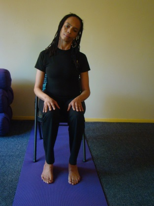 EASY CHAIR YOGA PRACTICE Neck Releases. Begin slowly rotating your neck three times to the right and then three times to the left. Return your head to center when done. Neck Releases Neck turns.