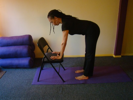 Inhale, bend your knees and lift your torso. Extend your arms upwards. Enjoy your breath. Chair Pose Standing forward fold with chair Standing Forward Fold.