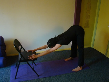 Downward Facing Dog with chair Tree Pose Balance Downward Facing Dog with Chair. From forward fold, step you re your feet back far enough to extend your arms straight.