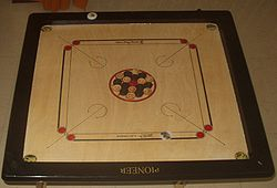 "In Bihar Standardised rules and regulations Carrom board International rules (sometimes called ""the laws of carrom"") are promulgated by the ICF, the governing body of carrom."