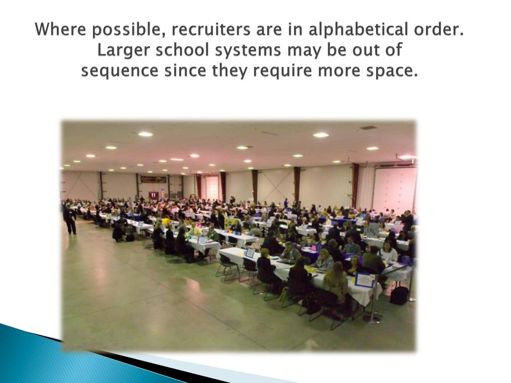 This slide gives you a good idea how the employer tables are set up in the expo hall. Most employers are easy to find.