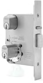 3577 Dual Entry Deadlatch Designed to enable emergency services to enter specific areas by secon cylinder without giving access to all locksets in the building and the ability to lockout keys with