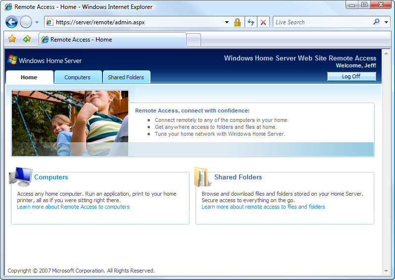 10 Windows Home Server Reviewer s Guide Remote Access After you have turned Remote Access on and configured a user account for Remote Access using the Windows Home Server Console, you can use a web