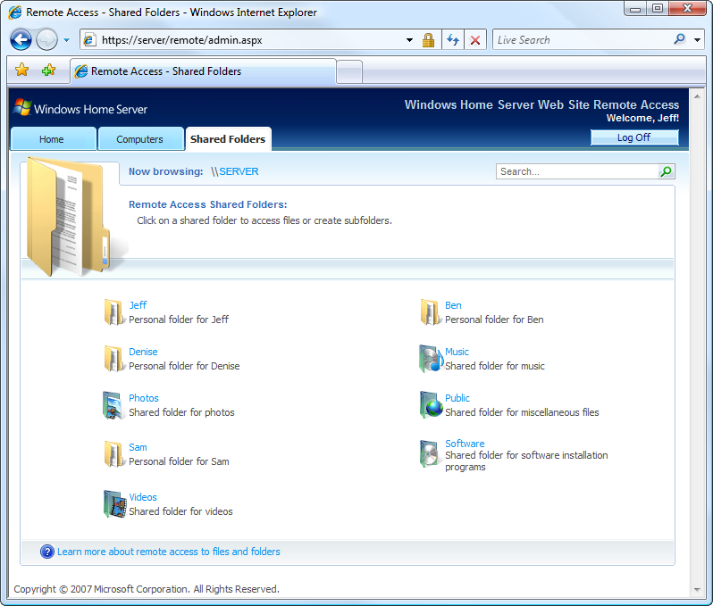 11 Windows Home Server Reviewer s Guide Remotely Connect to the Windows Home Server Console If the need arises, you can access the Windows Home Server