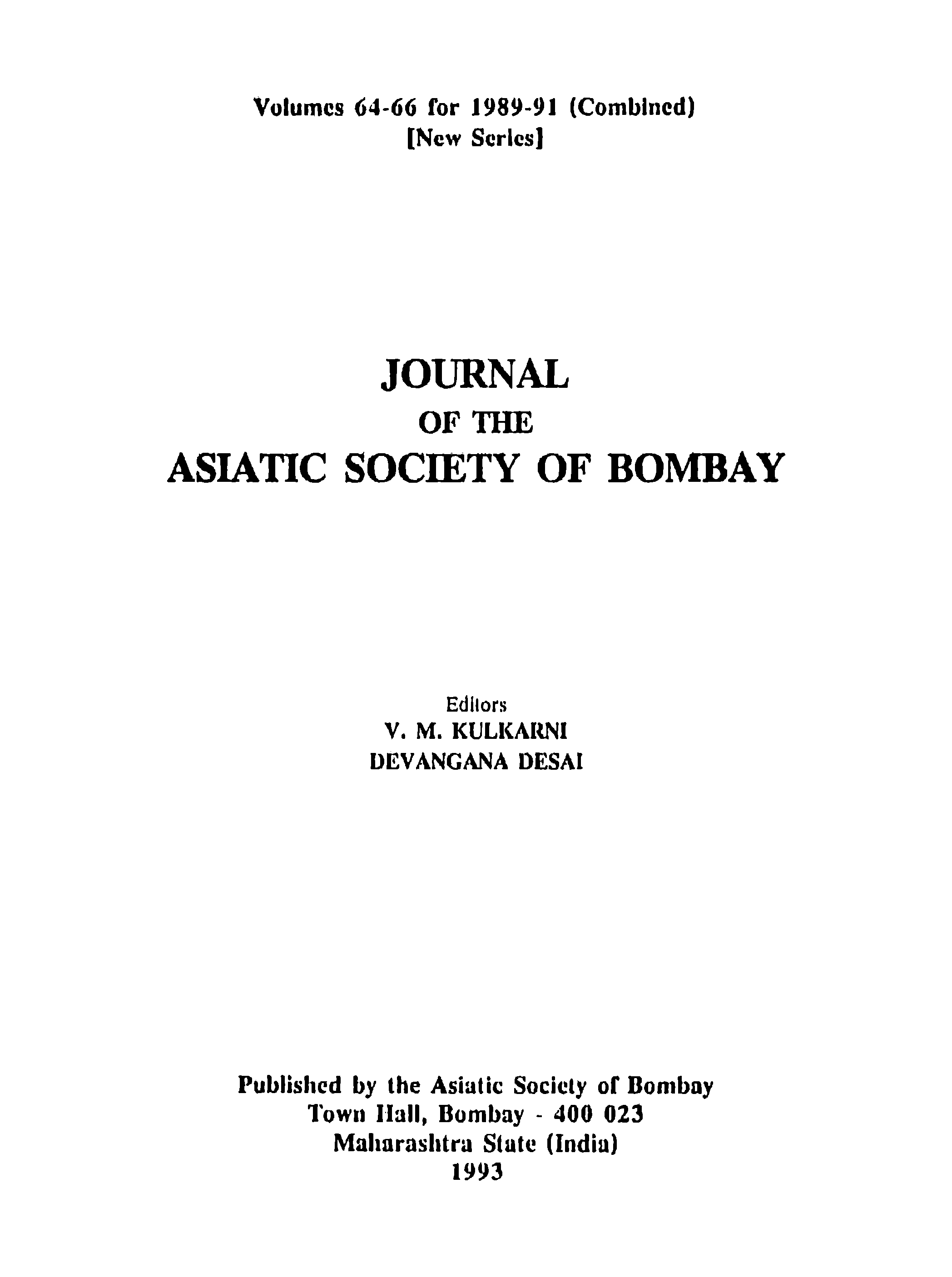 volumes for j combined new serles journal of the asiatic society