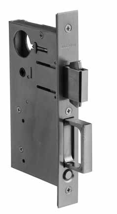POCKET DOOR AND CYLINDERS Pocket door pull SPECIFICATIONS Standardized heavy steel case is smooth, easy to mortise, and assures snug and solid fit in door mortise.