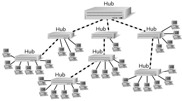 Enterprise-Wide Topologies Serial backbone Two or more hubs connected to each other by a single cable Distributed