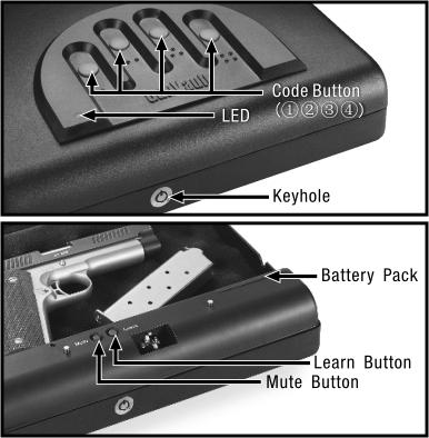 Getting Started Set your keys to the side. Don t lock them inside the safe! Pull open the battery cover. Pull out the battery holder, by gently pulling on the ribbon. Insert new 9v battery.