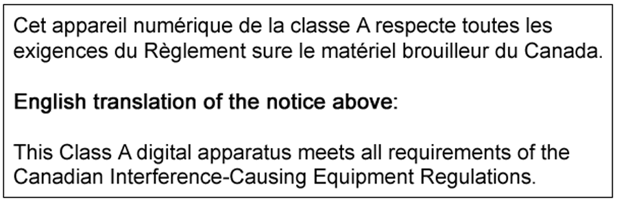 Electromagnetic Compatibility Class A Notice Industry Canada Equipment Standard For Digital