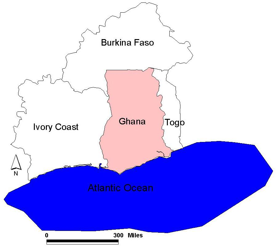 Location of Ghana Ghana, former British Colony.