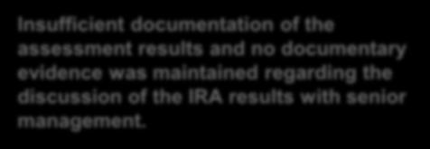 Risk Assessments - Institutional risk assessment ( IRA ) (cont d) Examples Insufficient documentation of the assessment