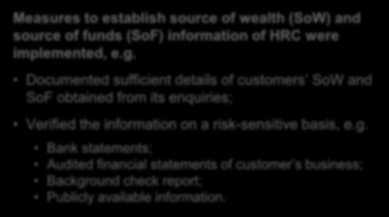 Customer due diligence and ongoing monitoring (cont d) Examples Measures to establish source of wealth (SoW) and source of funds (SoF) information of HRC were implemented, e.g. Documented sufficient details of customers SoW and SoF obtained from its enquiries; Verified the information on a risk-sensitive basis, e.