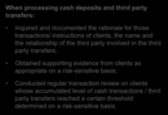 Identification, Evaluation and Reporting of Suspicious Transaction (cont d) Examples When processing cash deposits and third party transfers: Inquired and documented the rationale for those
