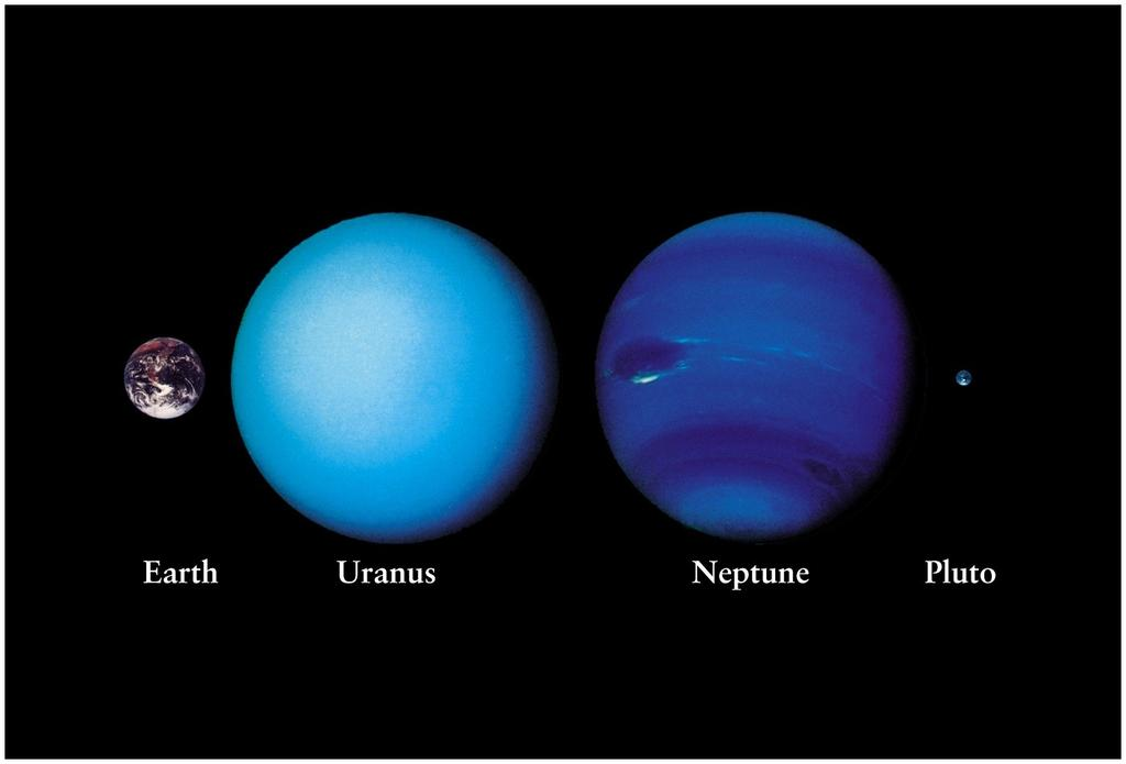 Uranus and Neptune : the ice giants Much smaller than Jupiter and Saturn