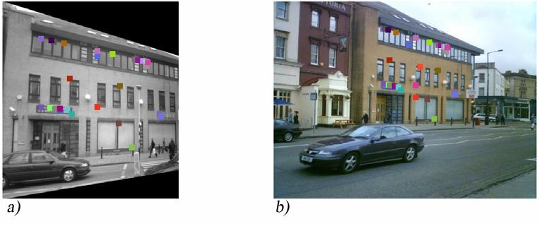Figure 17: The query image b) has been matched against a rectified view a) of the building.