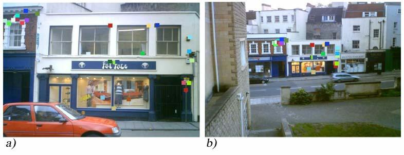 Figure 20: Query image b) was taken from a higher elevation, as well as at